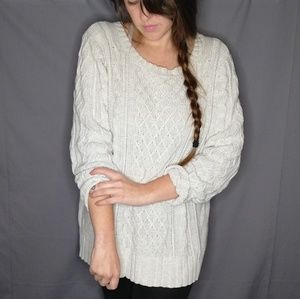 Old Navy Pale Grey Chunky Knit Sweater